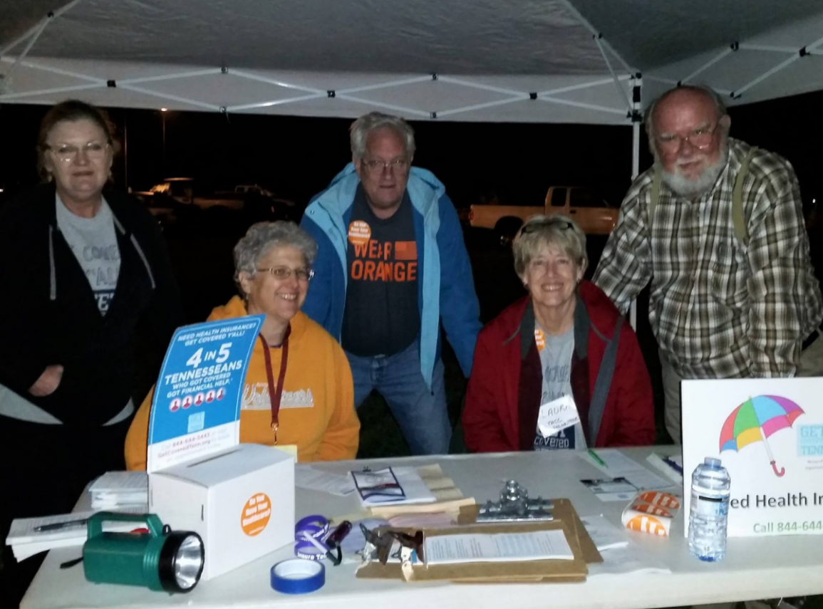 Group at information table